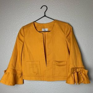 LOFT goldenrod yellow jacket with ruffle sleeve